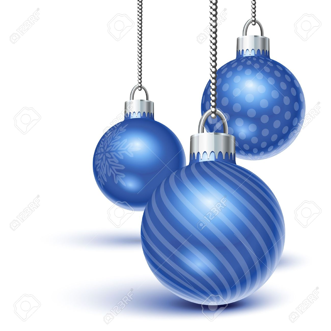 Blue Christmas Ornaments Hanging Over White Royalty Free Cliparts ...