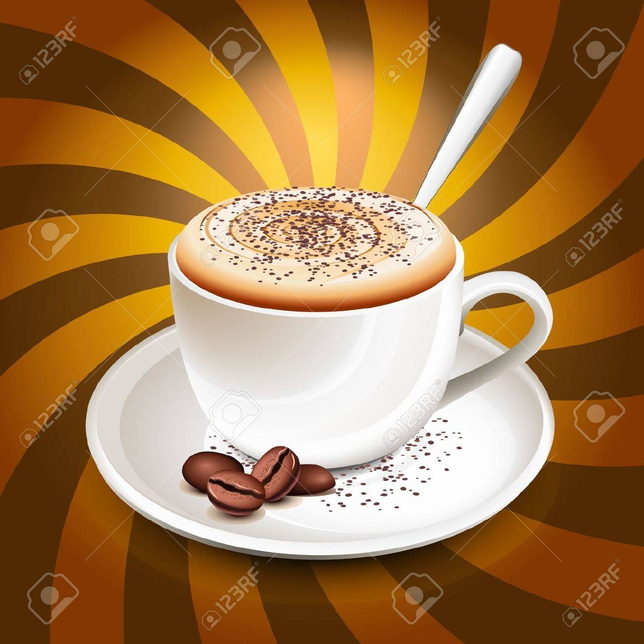 Cup of cappuccino over rays Stock Vector - 9412261