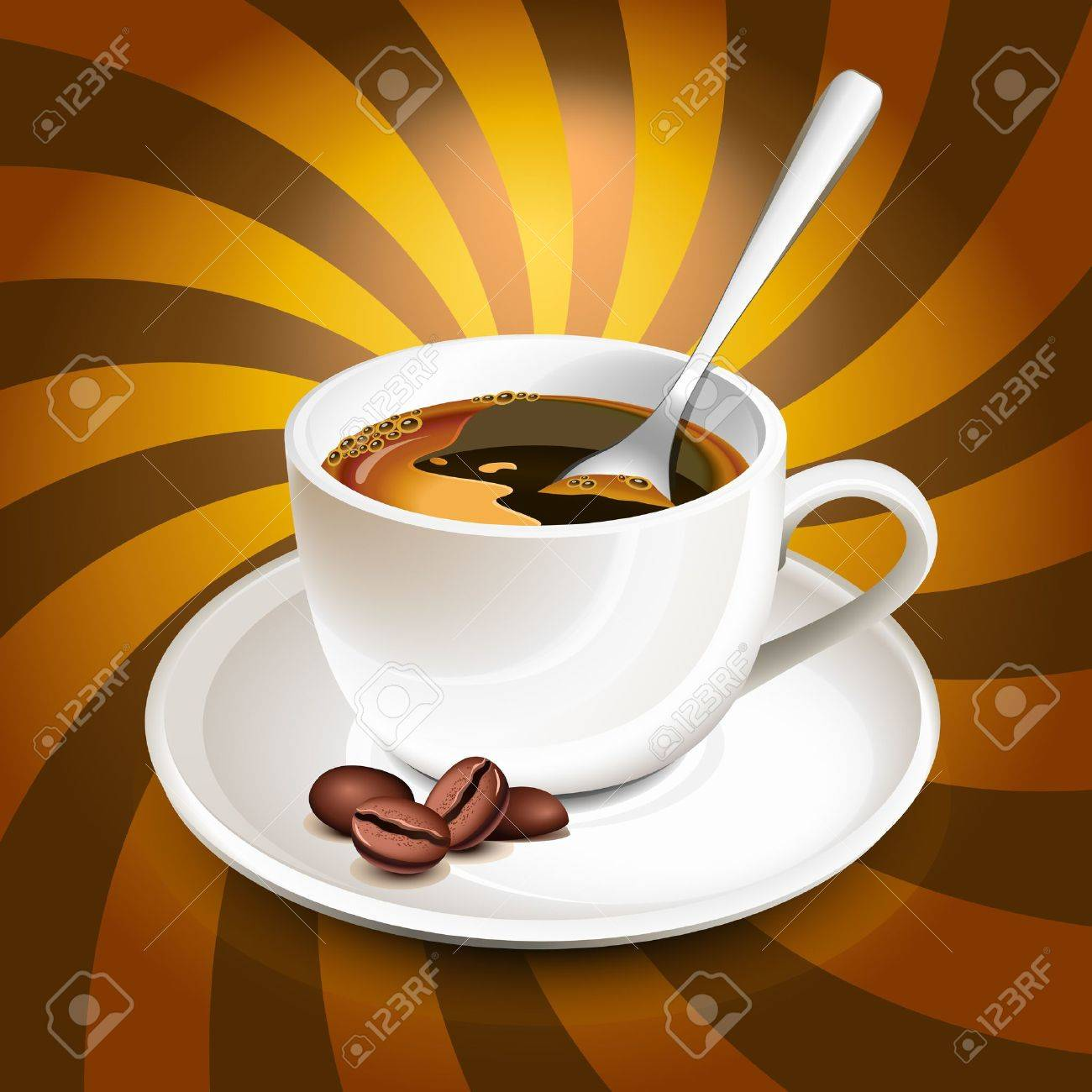 Cup of coffee over rays Stock Vector - 9536382