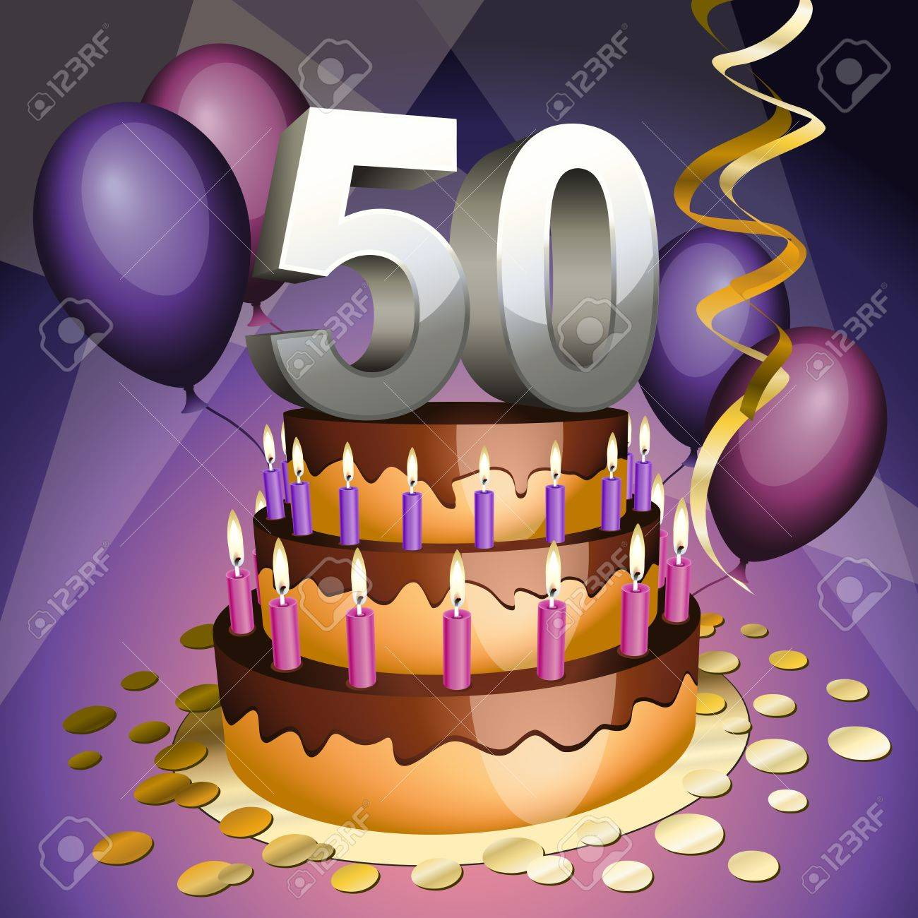 Fiftieth anniversary cake with numbers, candles and balloons Stock Vector - 9603879