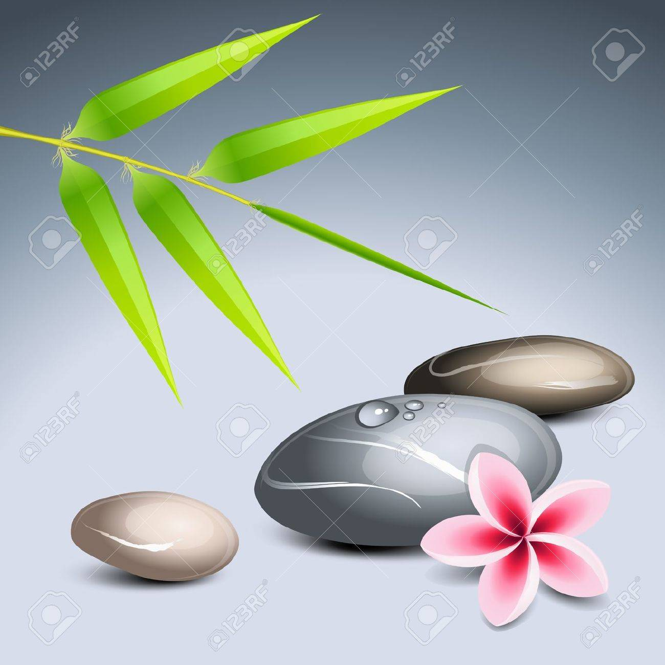 Zen theme 2 with bamboo and colored pebbles Stock Vector - 10588038