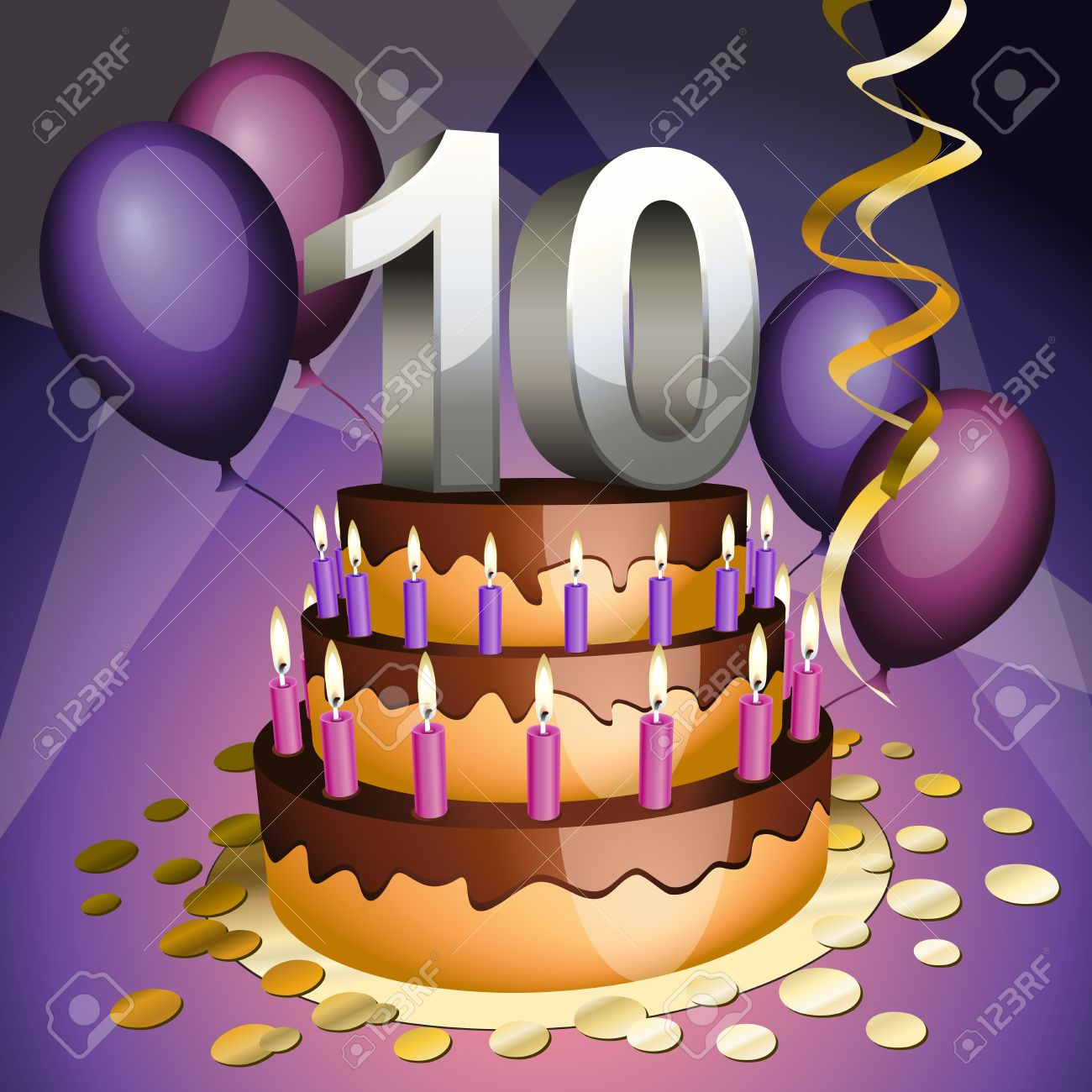 Tenth anniversary cake with numbers, candles and balloons Stock Vector - 10651940