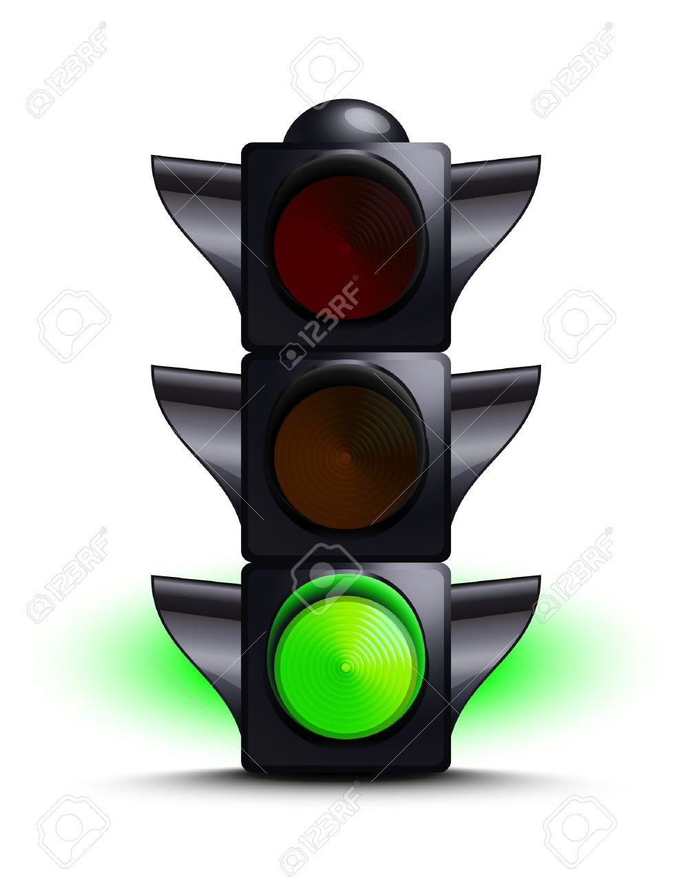 Traffic light on green Stock Vector - 10651939