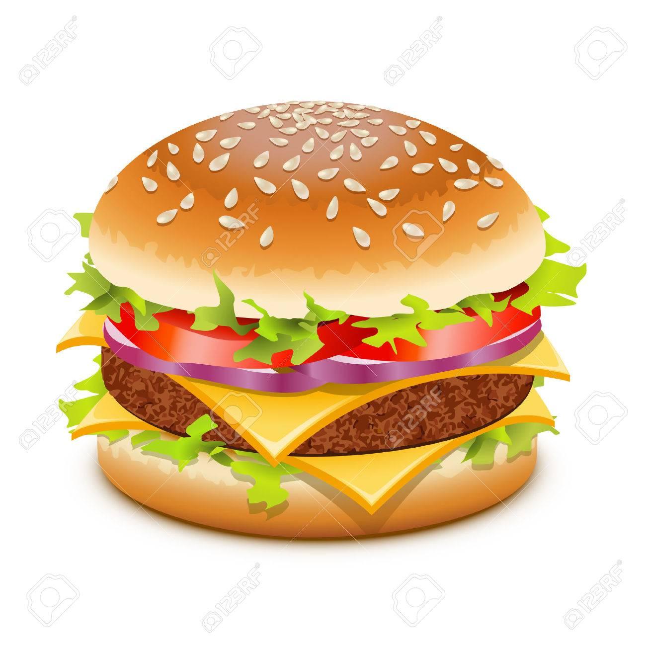 Cheeseburger, hamburger with cheese over white Stock Vector - 11151094
