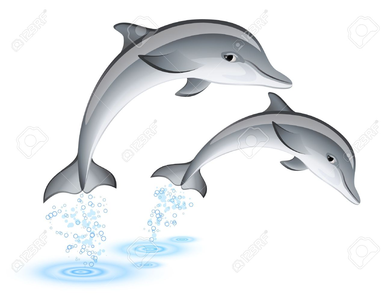 Two jumping dolphins Stock Vector - 11596132