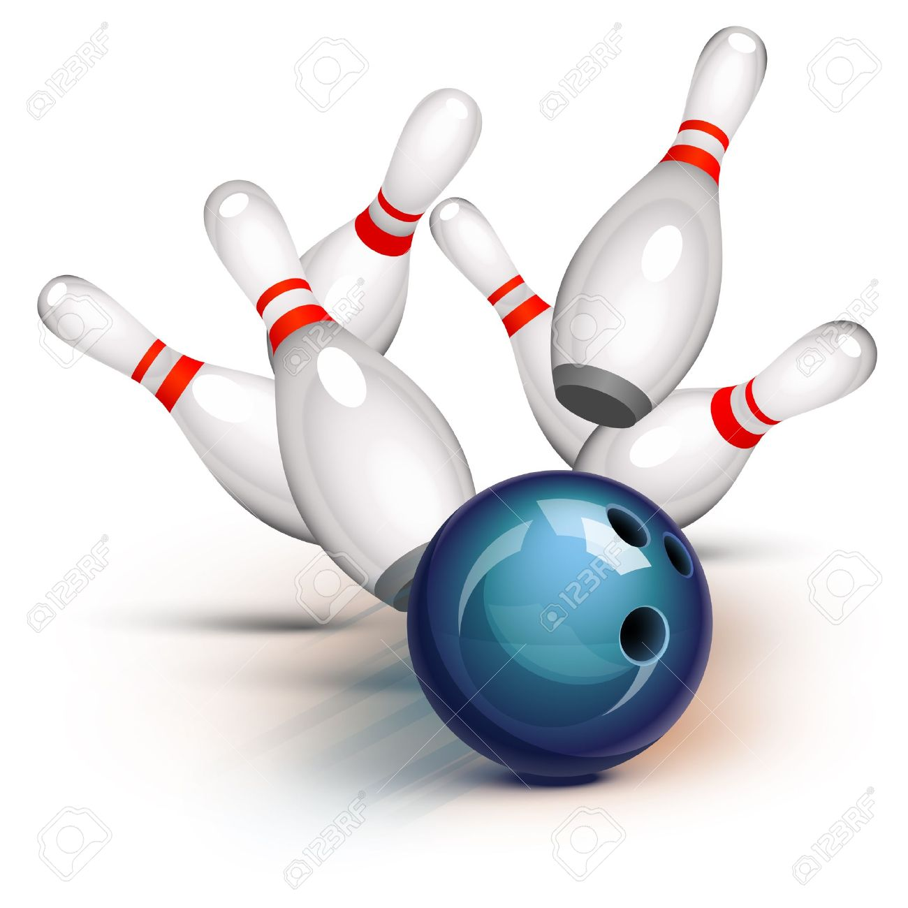 Bowling ball crashing into the pins Stock Vector - 12966726