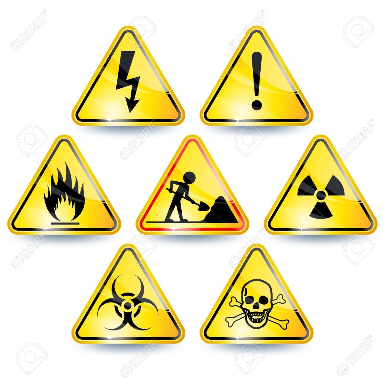 Set of seven yellow warning signs Stock Vector - 14759218