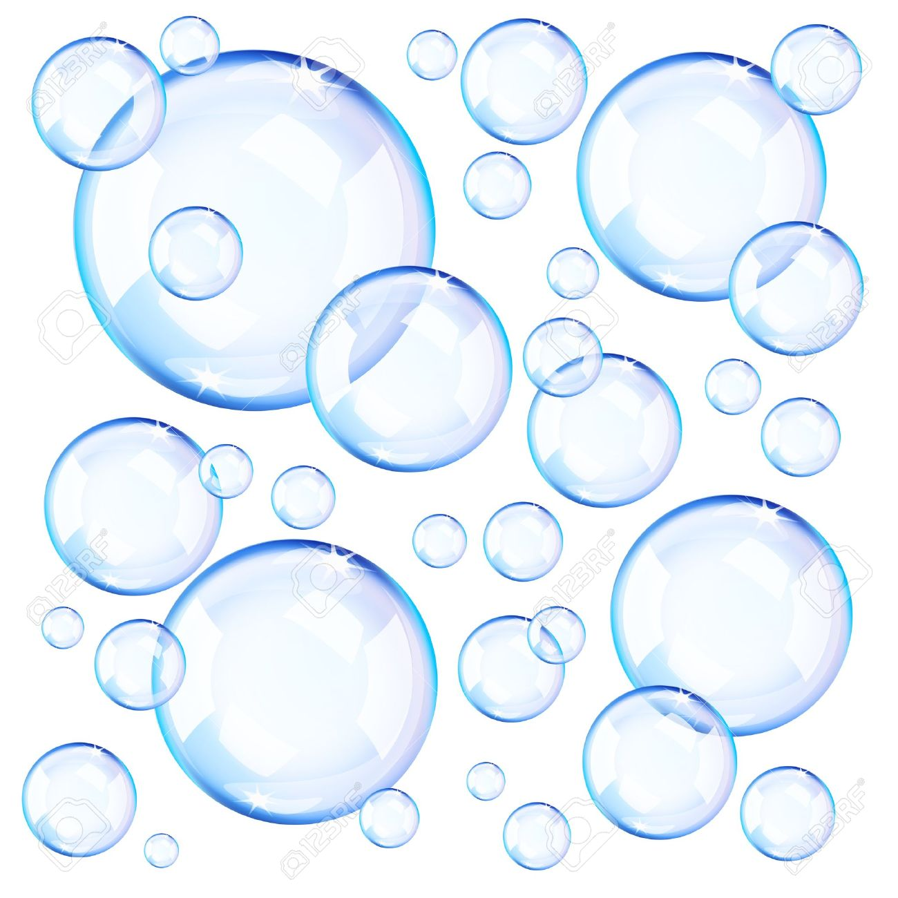 transparent blue soap bubbles over white background royalty free