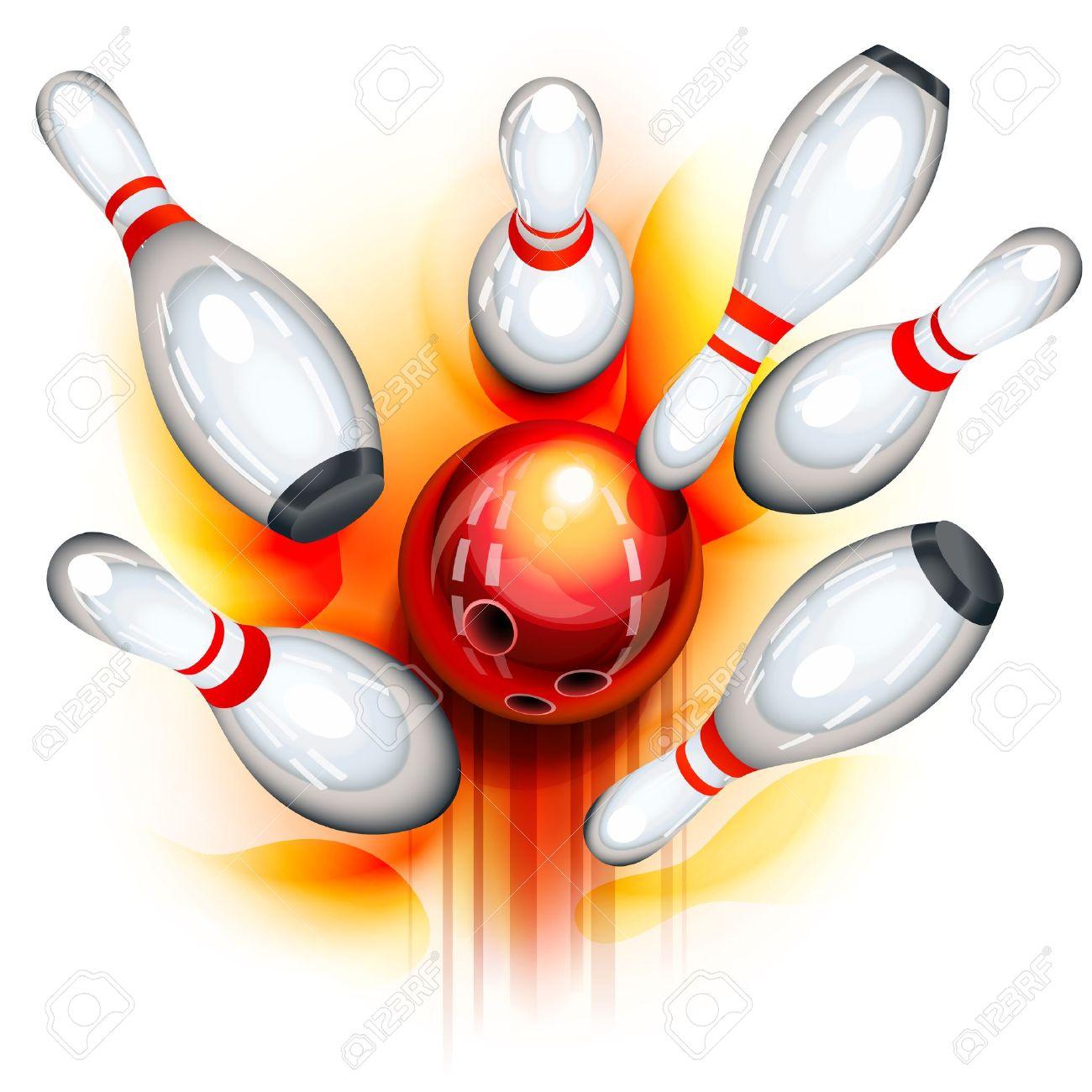 ピンにクラッシュする赤いボウリング ボール ロイヤリティフリークリップ