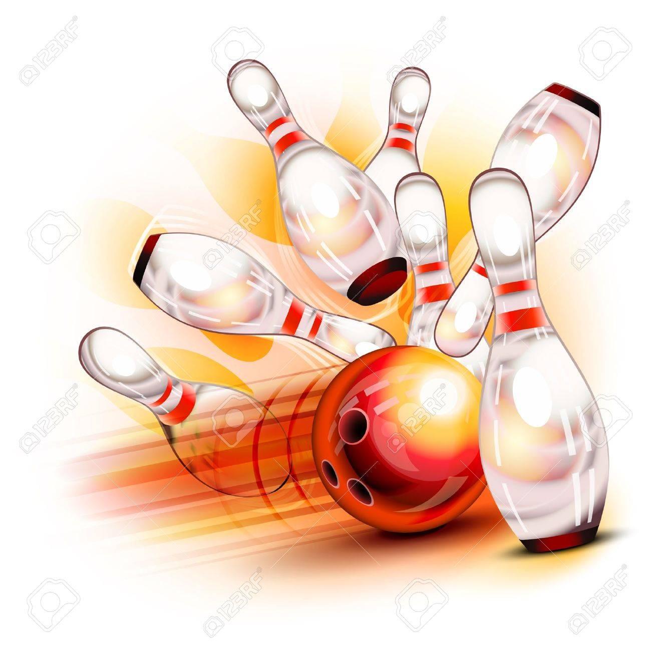 A red bowling ball crashing into the shiny pins - 17885624