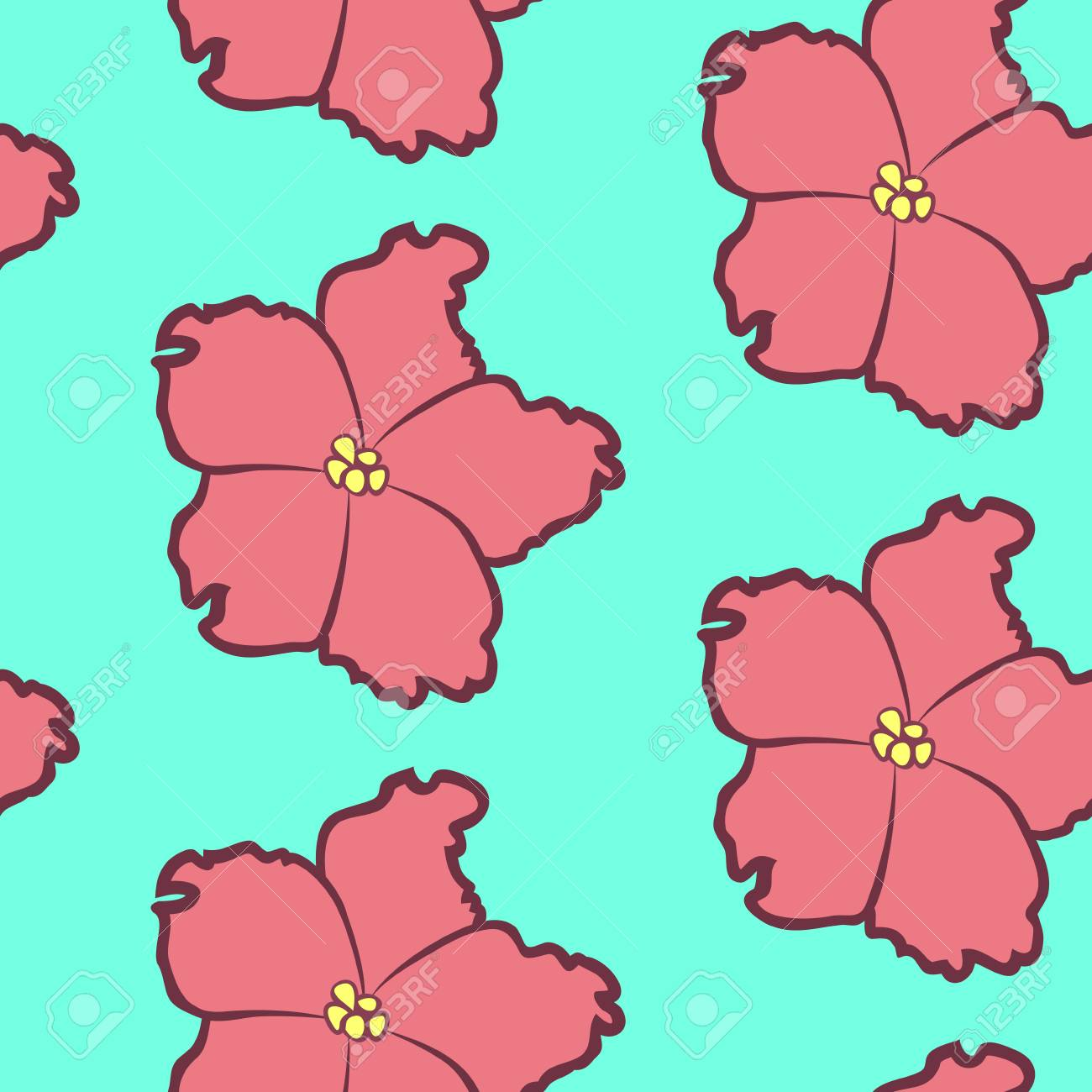 Vector illustration bright seamless floral pattern beautiful vector vector illustration bright seamless floral pattern beautiful cartoon pink saintpaulia flowers in sketch style on light blue background izmirmasajfo