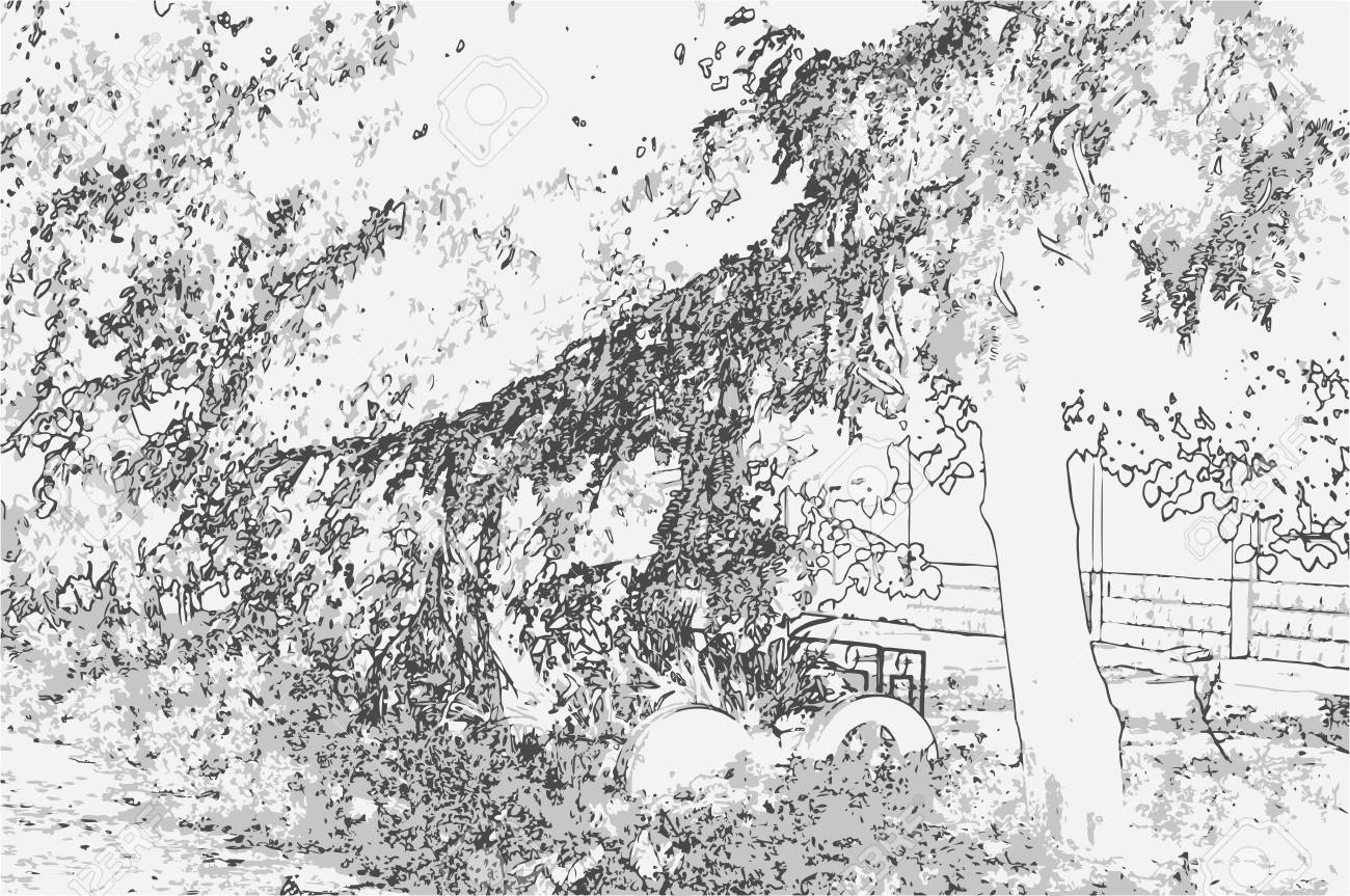 City landscape of small town with tree in style of pencil drawing monochrome three