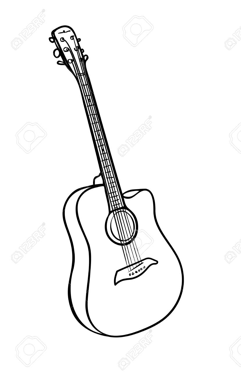 Vector Illustration Isolated Acoustic Guitar In Black And White Royalty Free Cliparts Vectors And Stock Illustration Image 124669194