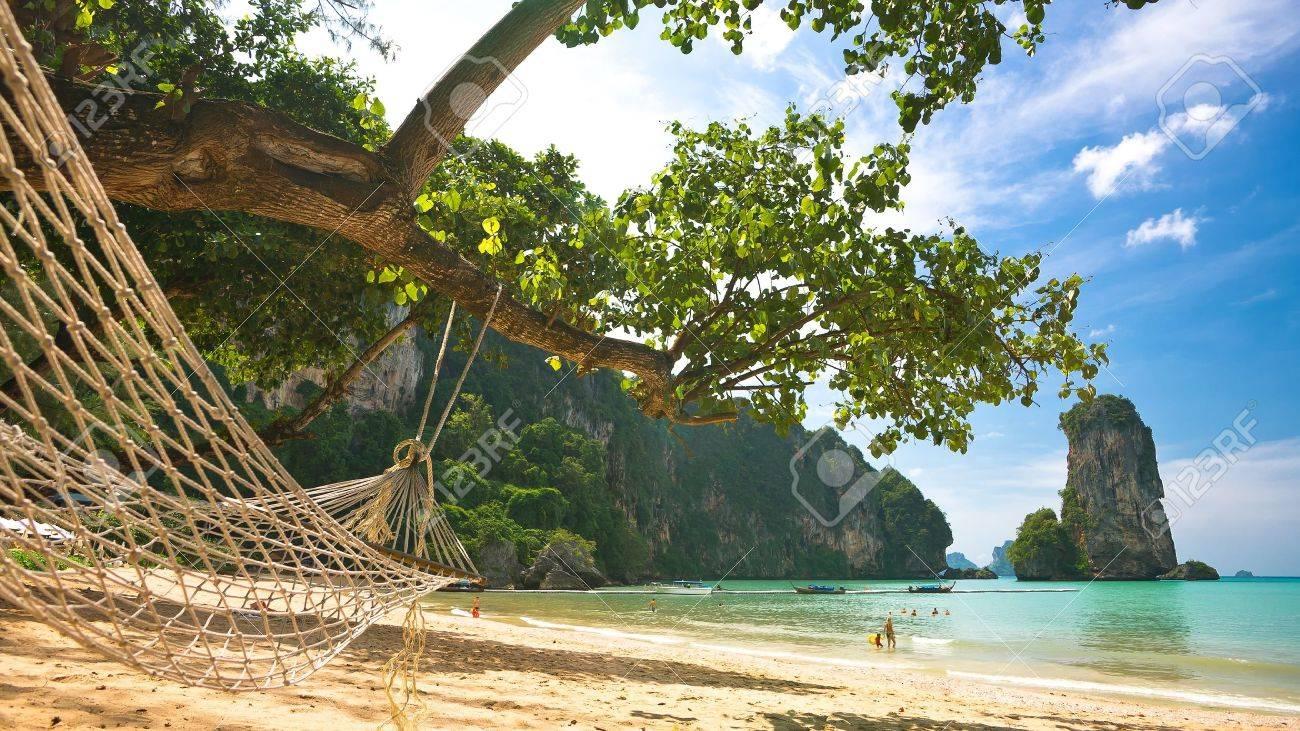 Hammocks on the beach - Hammock Beach Hammock On The Sandy Beach Thailand Krabi Province Stock Photo