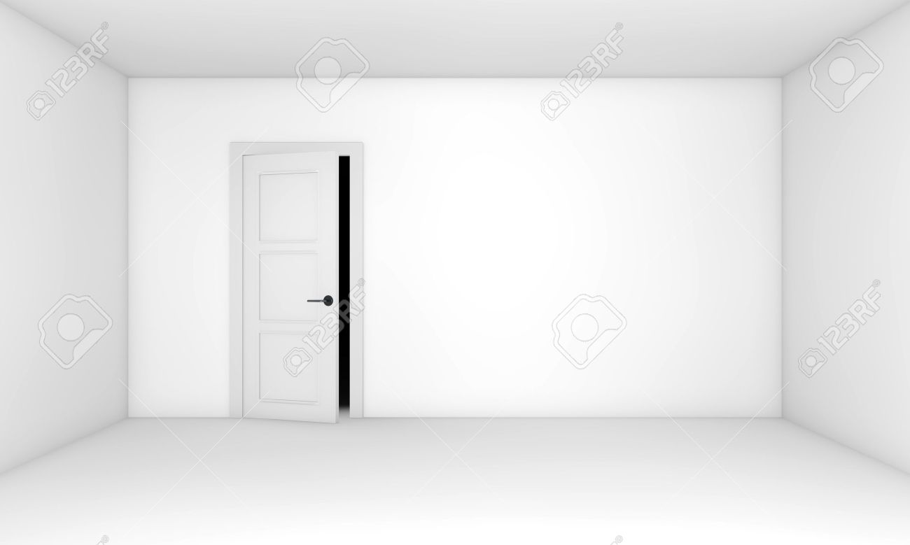 Ajar Door In The Empty White Room Stock Photo, Picture And Royalty ...