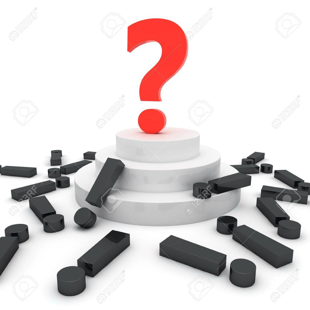Big red question mark on the tribune over black exclamation marks Stock Photo - 9517805