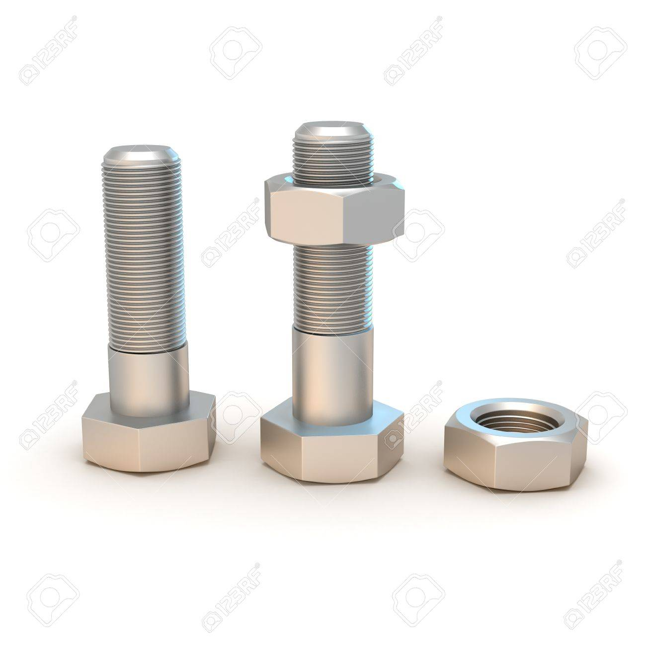 Two metal bolts and screws isolated on the white background Stock Photo - 9543469