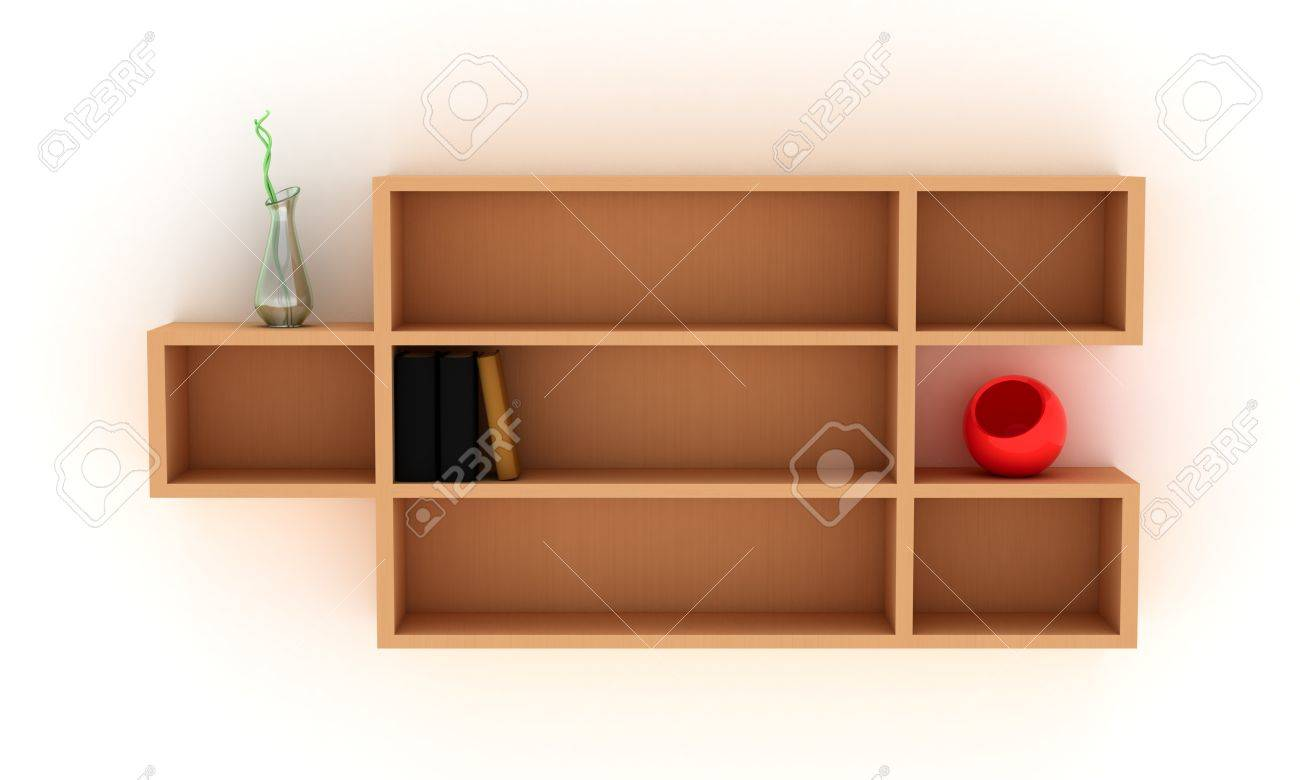 wooden shelves with books and modern vases stock photo picture  - stock photo  wooden shelves with books and modern vases