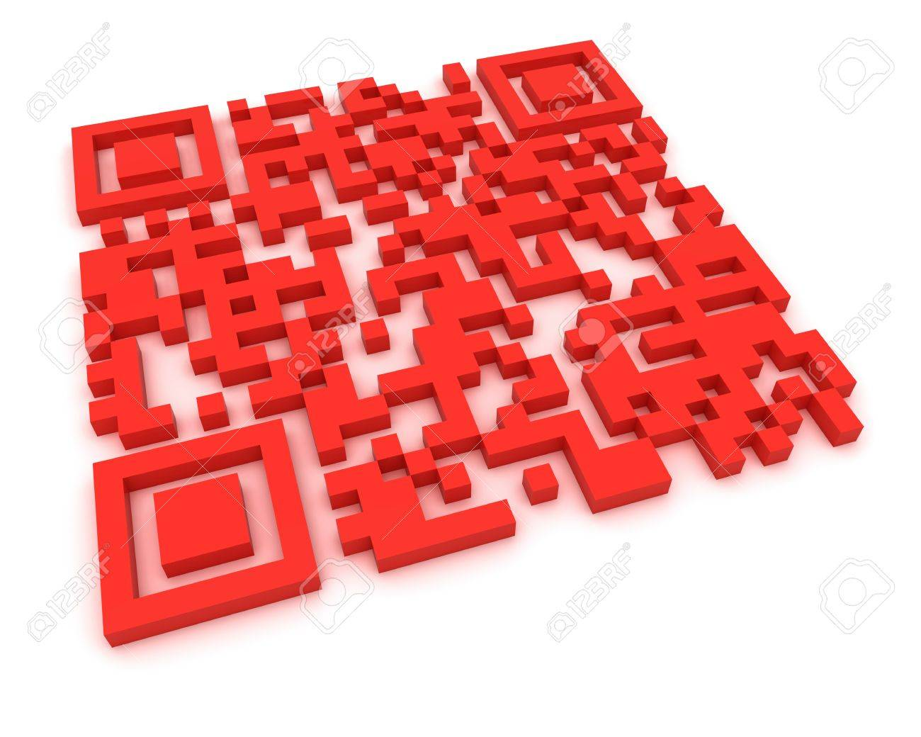 Render of a QR code (quick response) on a white background. Note: this qr-code is fake Stock Photo - 9820192