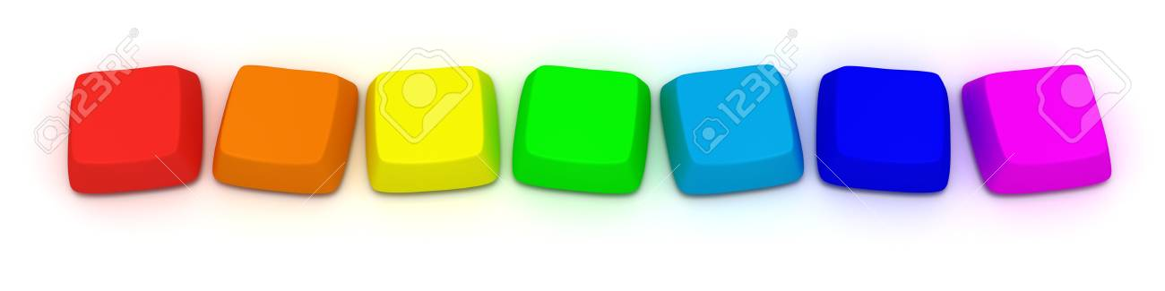 Computer keys by seven rainbow color, isolated Stock Photo - 9971764