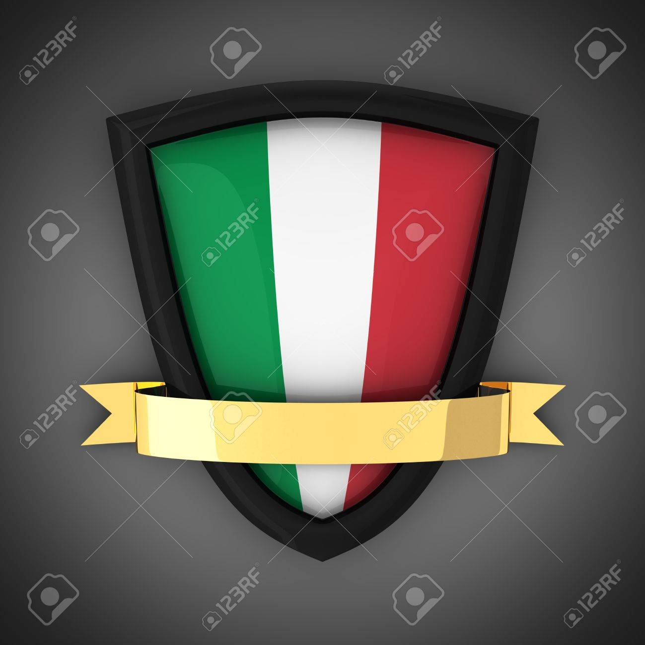The shield in the colors of the flag of Italy and gold ribbon Stock Photo - 9971835