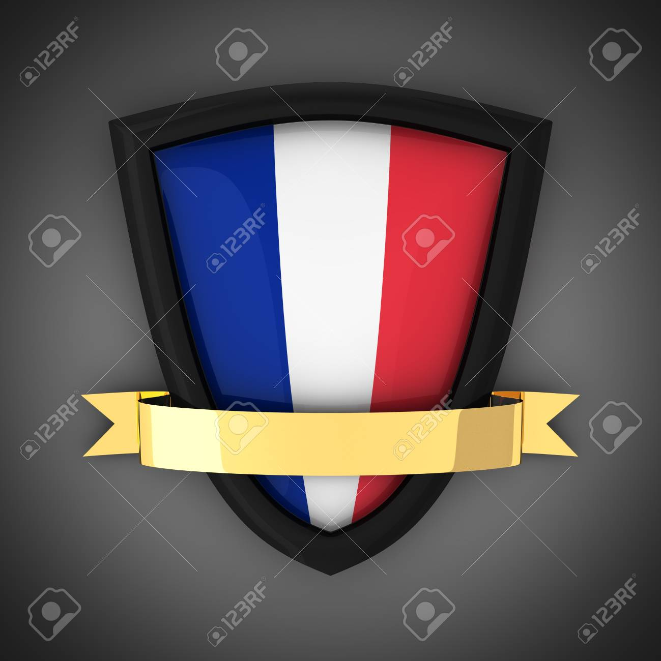 The shield in the colors of the flag of France and gold ribbon Stock Photo - 9971945