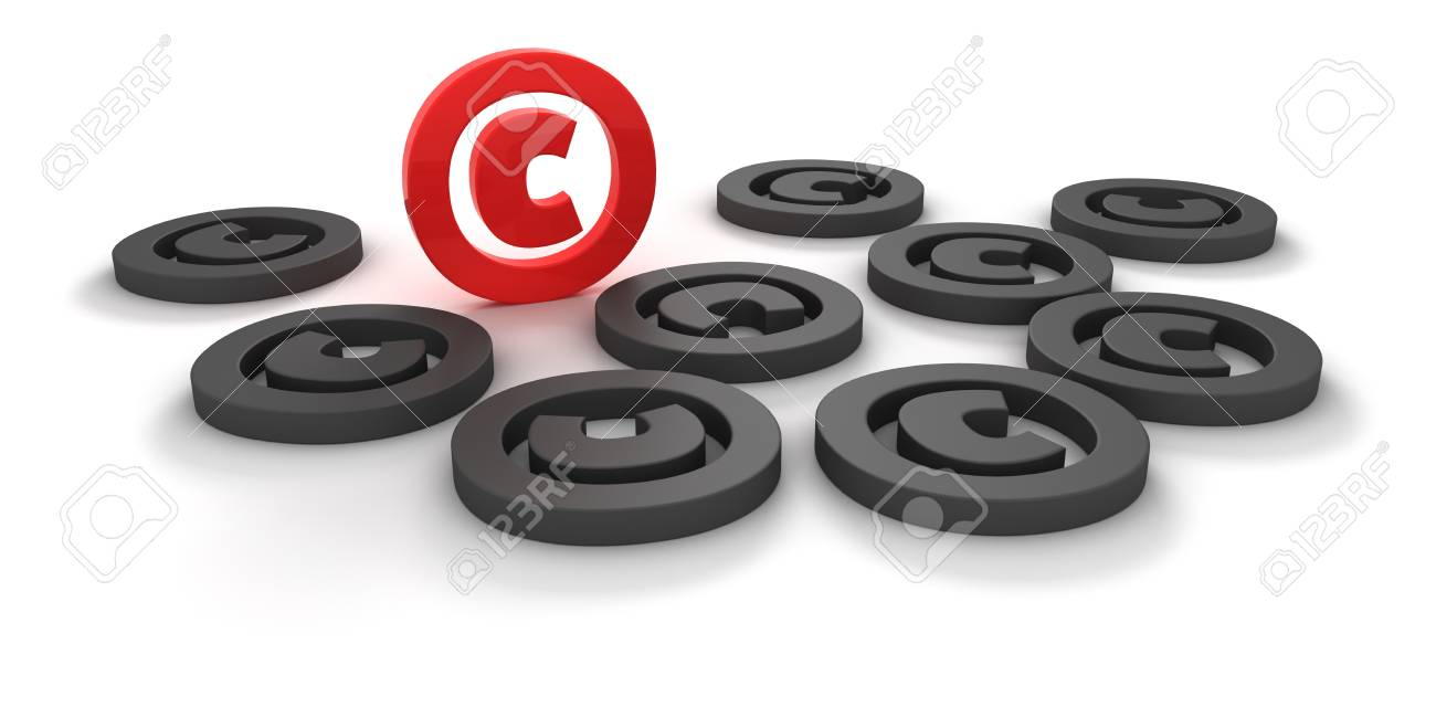 Red and black copyright signs isolated on the white background Stock Photo - 10702825