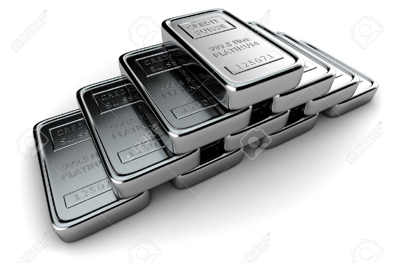 Platinum ingots stacked in a pyramid on white - 12003191