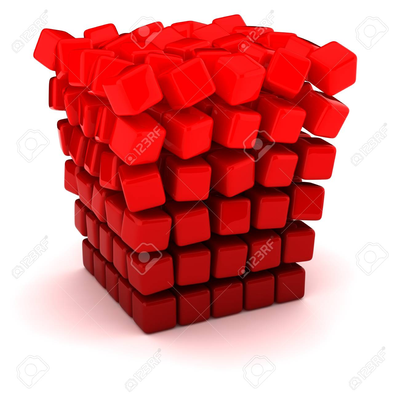 Falling apart into small figures cube Stock Photo - 12331732