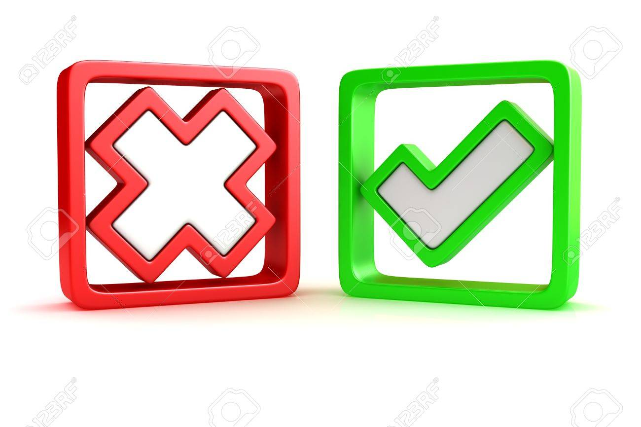 Approved and rejected marks in check boxes Stock Photo - 12964766