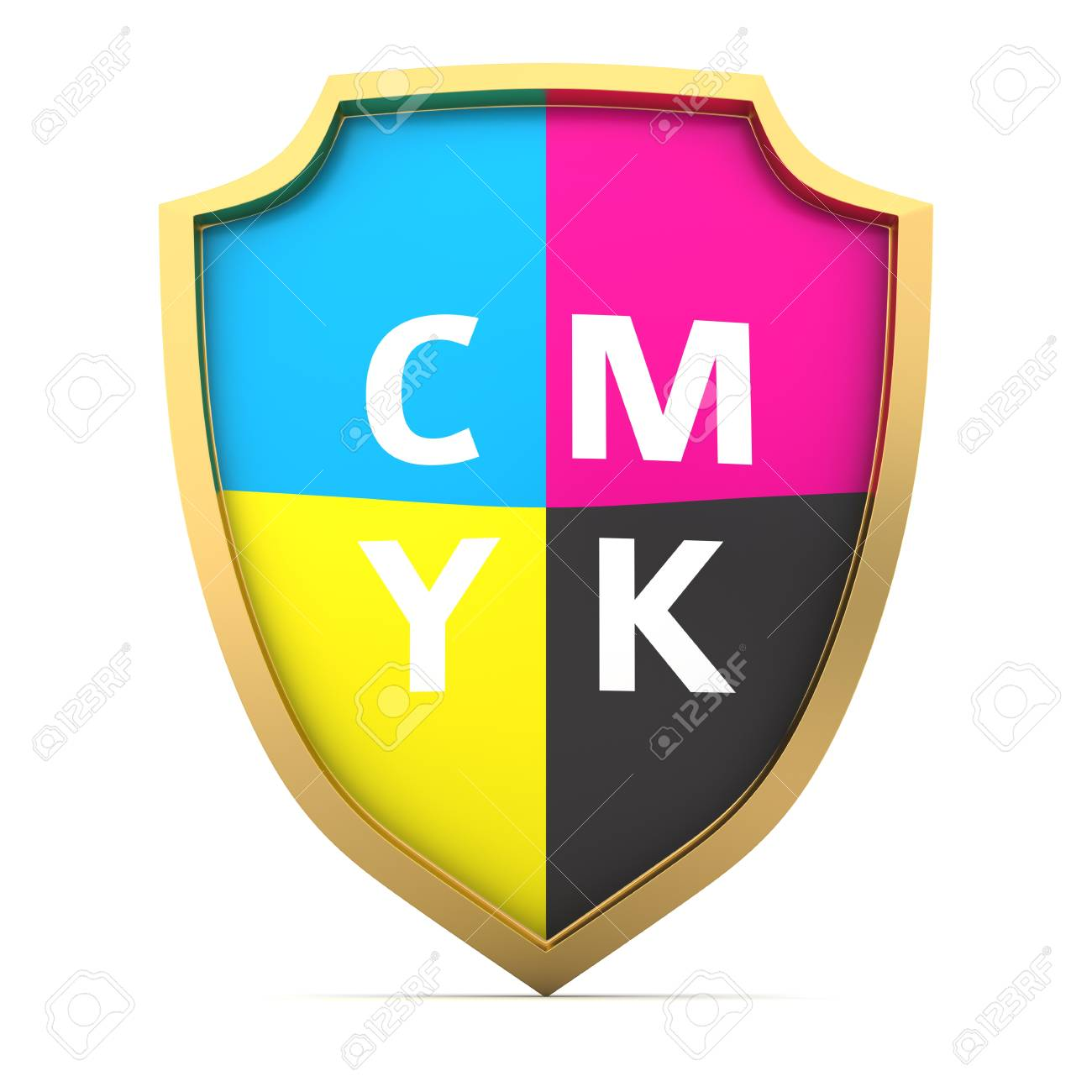 Shield painted with cmyk colors Stock Photo - 14114764