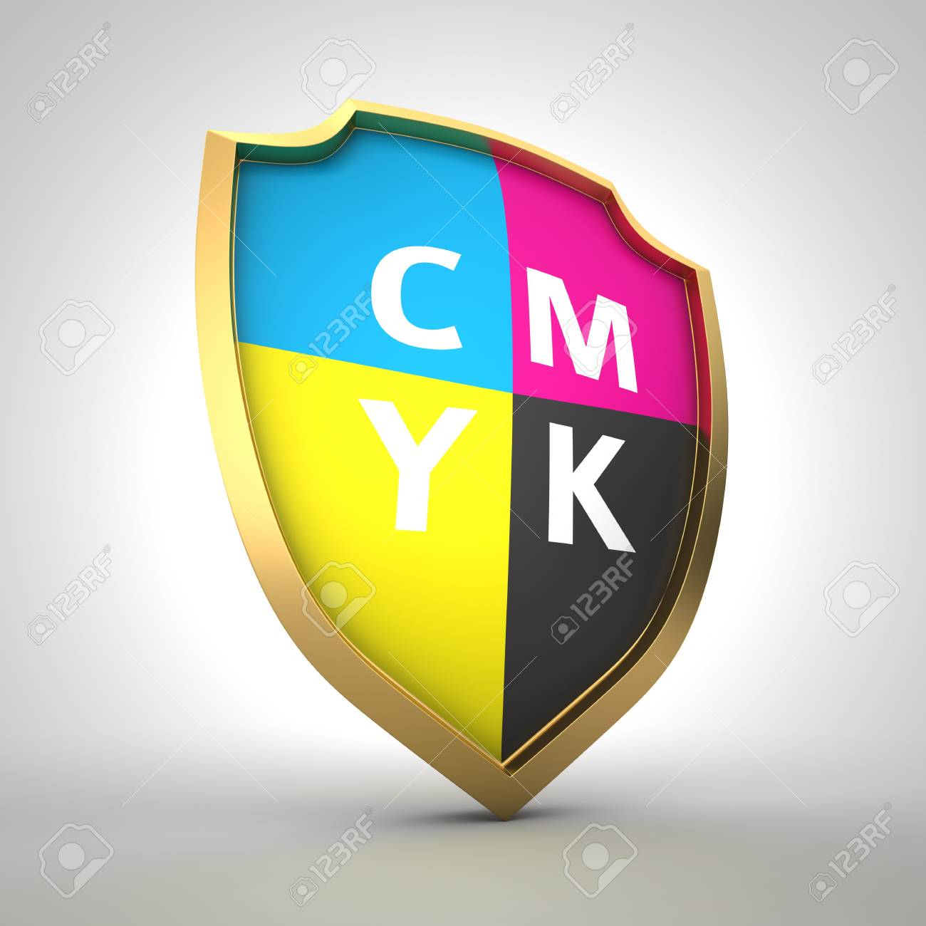 Shield painted with cmyk colors Stock Photo - 14381980