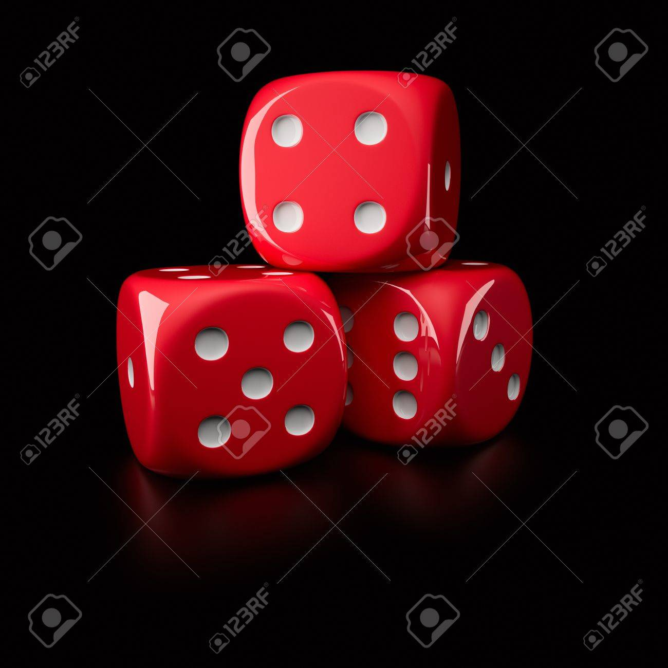 Three red dice showing different sides (on a right-handed, 6-sided die with pips) Stock Photo - 16451314