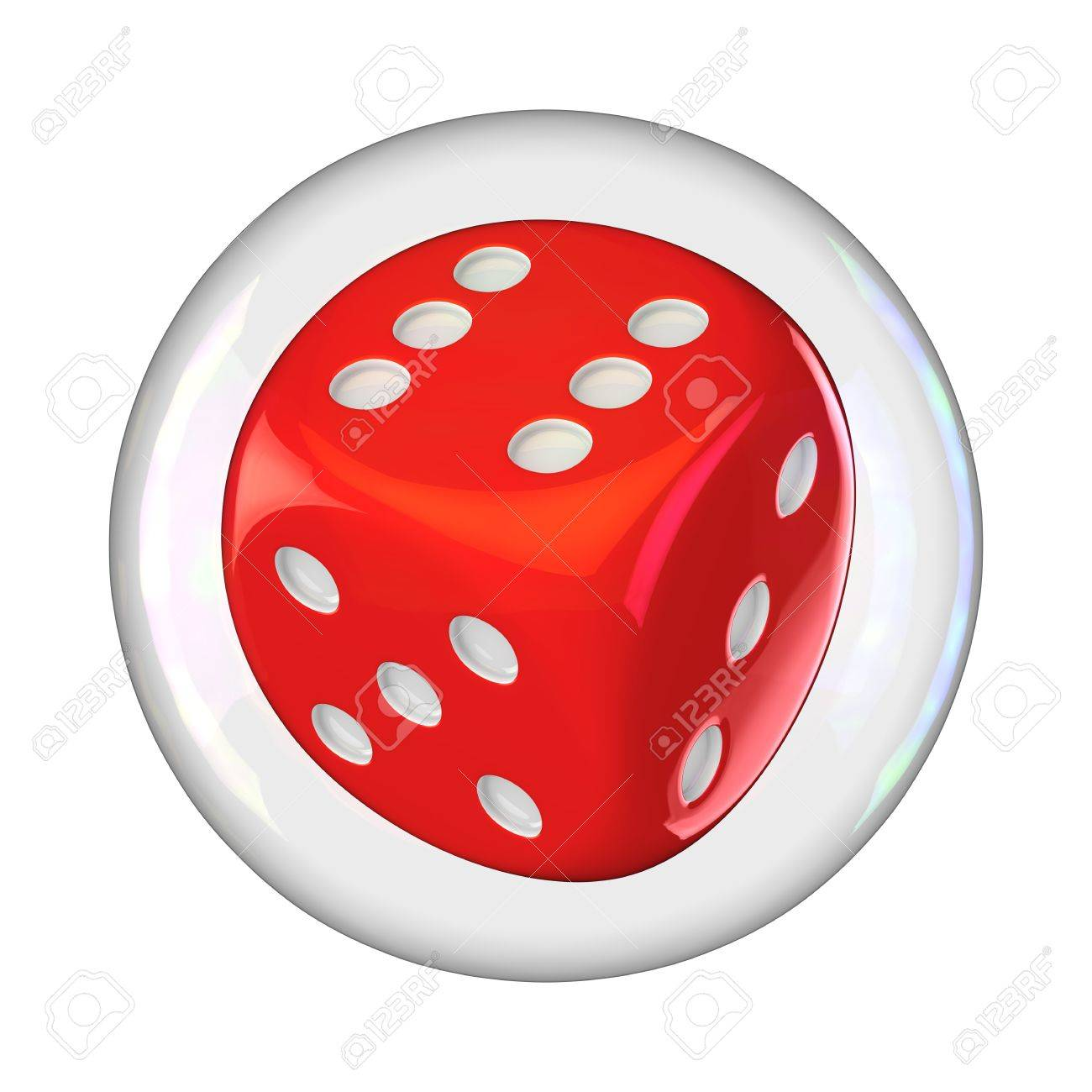 Gambling dice into the soap bubble isolated Stock Photo - 16612616