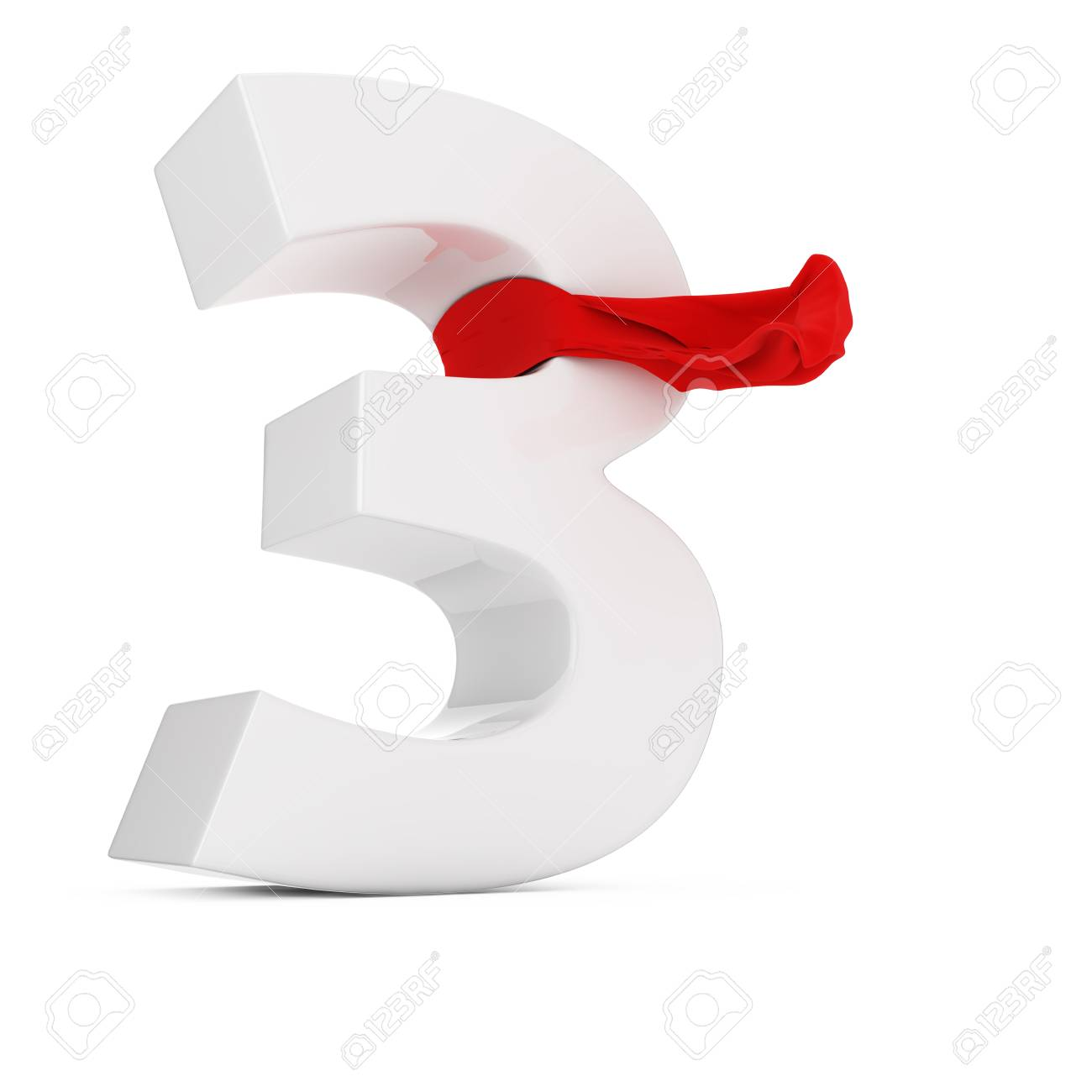 Number three with red fluttering fabric Stock Photo - 18681799