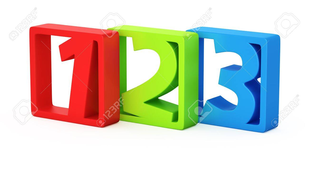 Colorful Digits 1 2 3 In The Frames Stock Photo Picture And