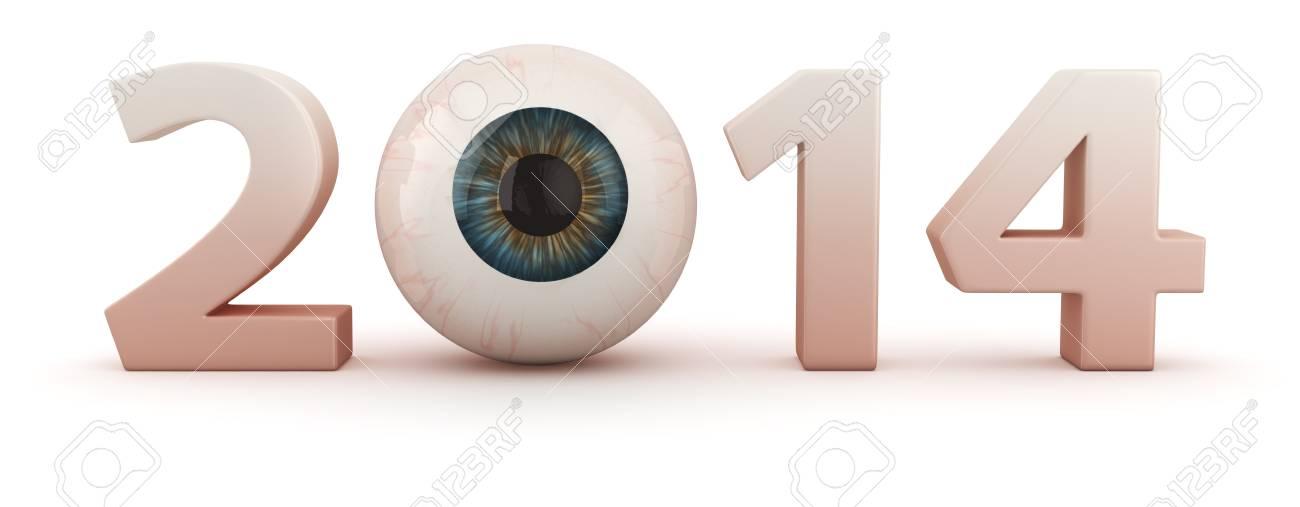 Big digits 2014 with human eye Stock Photo - 20284802