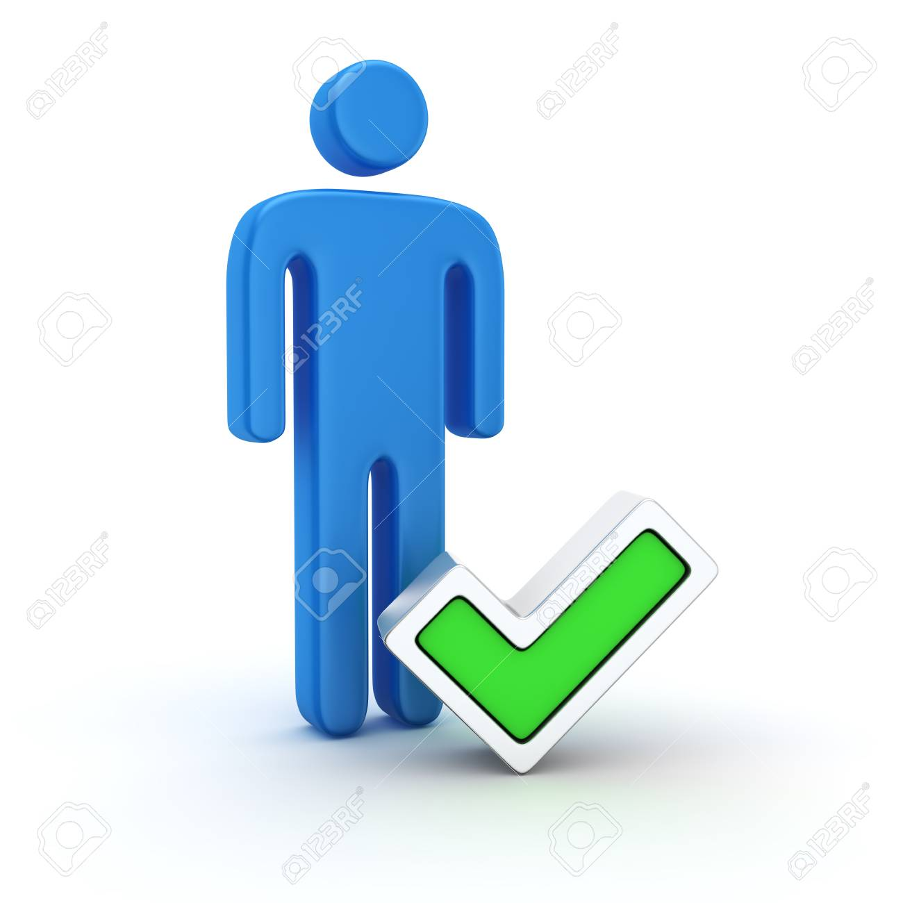 Blue symbol of a man and green tick Stock Photo - 21378405