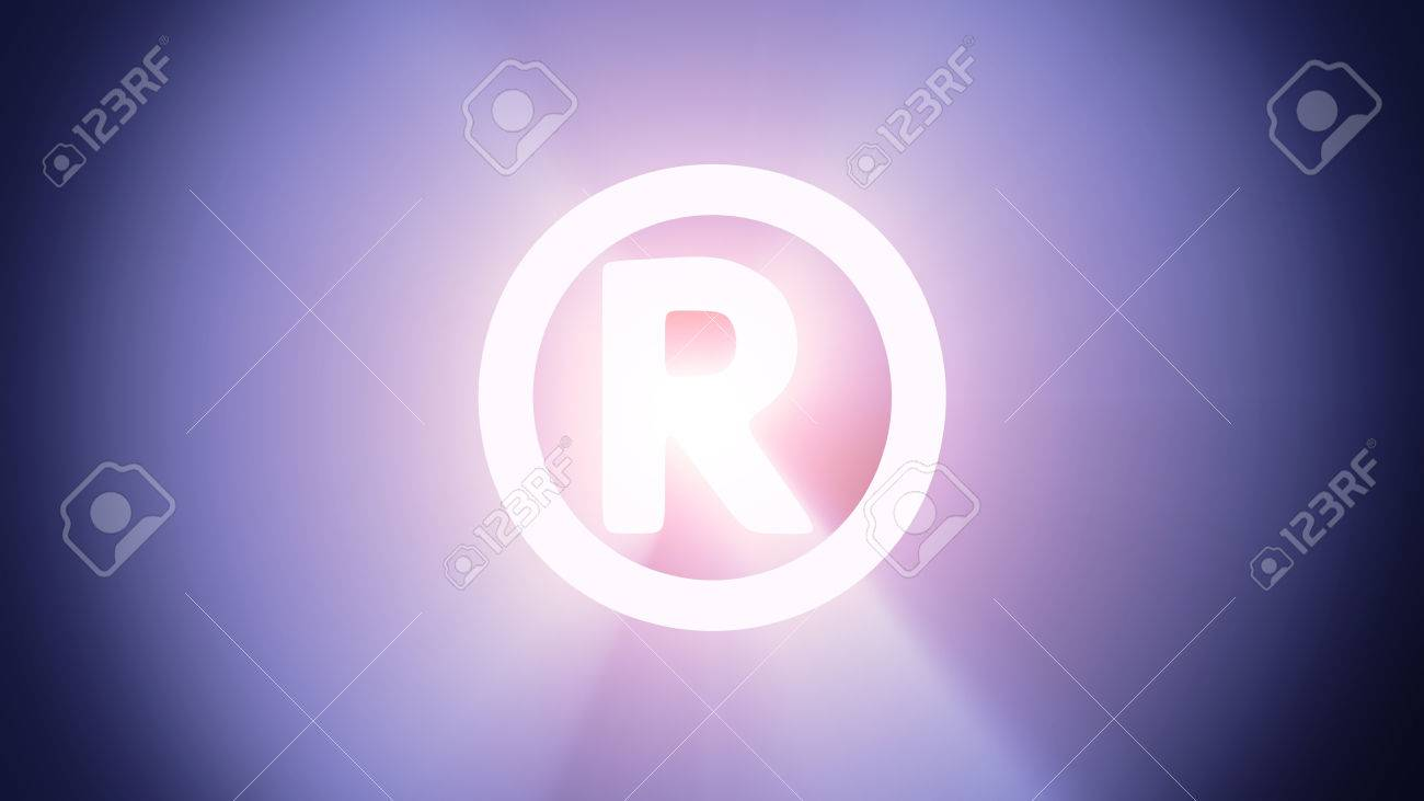Radiant light from the symbol of registered sign Stock Photo - 26894768