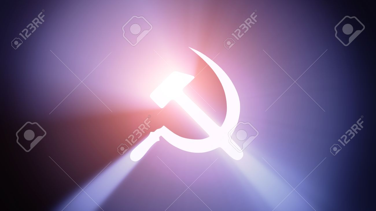 Radiant light from the symbol of communism Stock Photo - 27012733