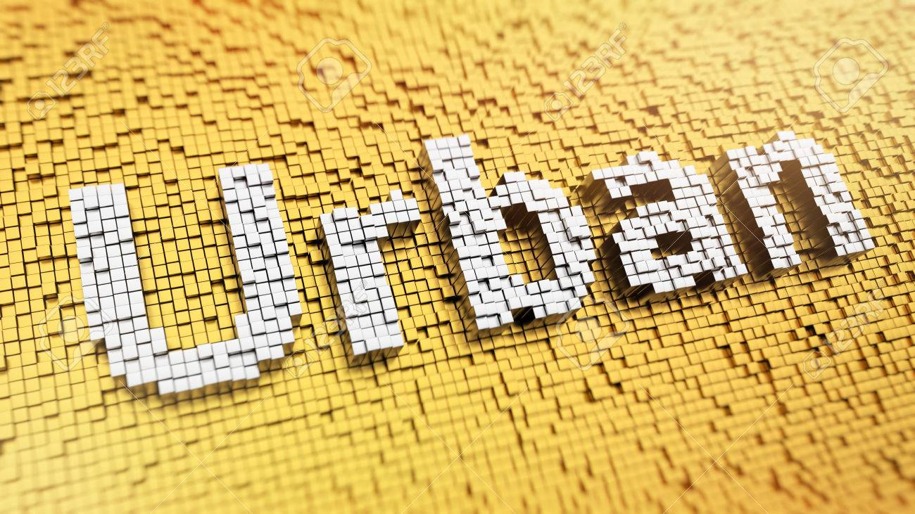 Pixelated Word Urban Made From Cubes, Mosaic Pattern Stock Photo ...