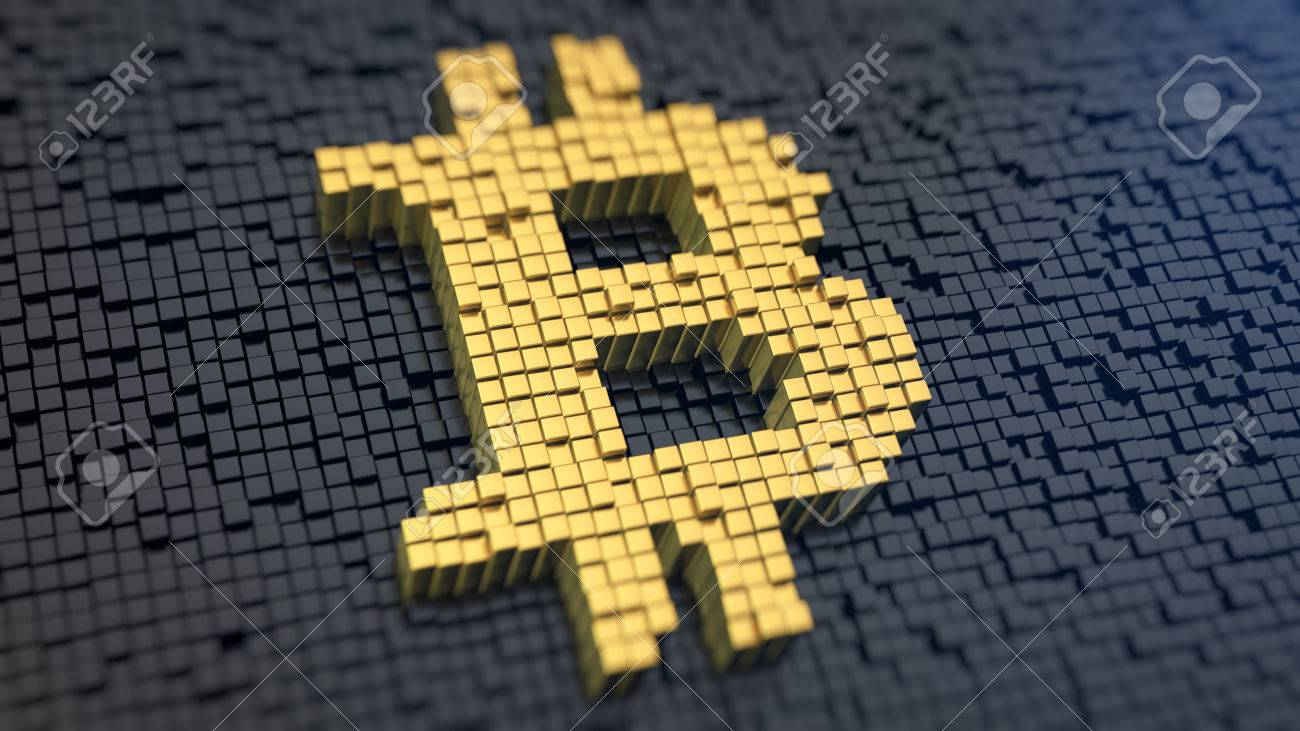 Bitcoin symbol of the yellow square pixels on a black matrix bitcoin symbol of the yellow square pixels on a black matrix background cryptocurrency concept biocorpaavc