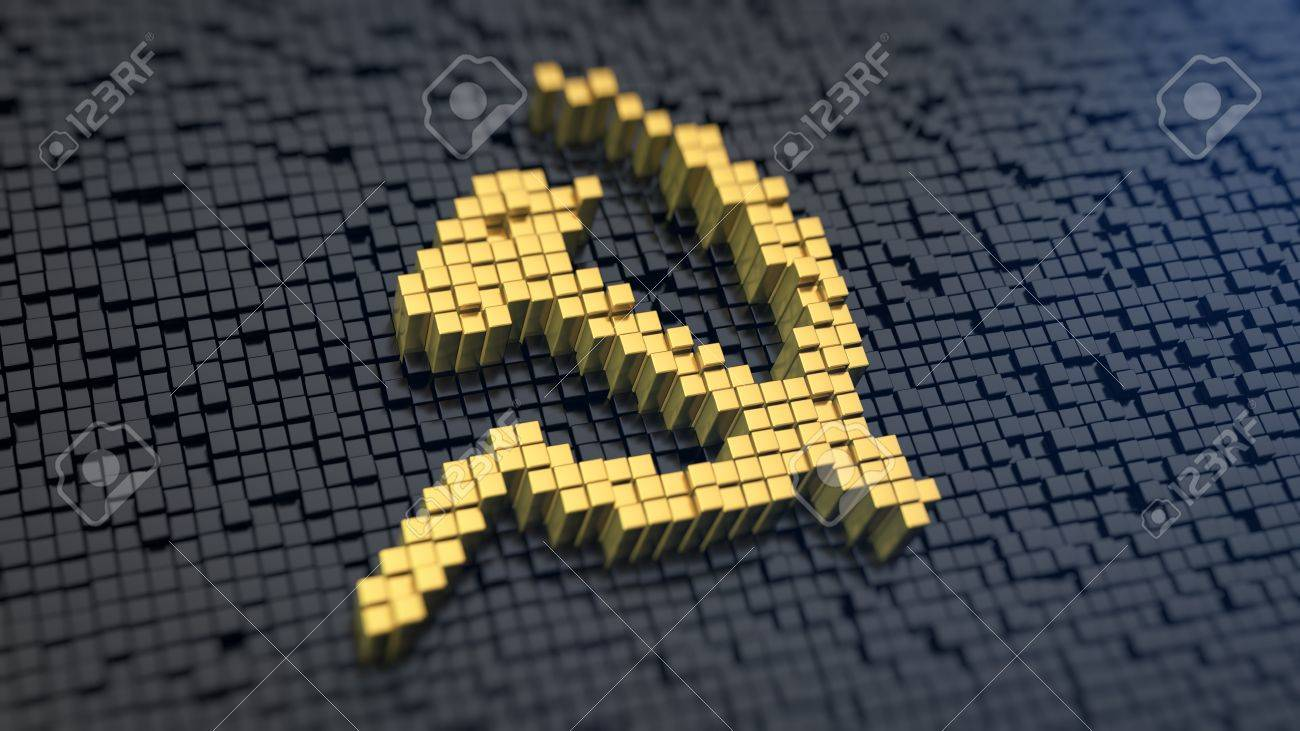 Hammer and sickle symbol of the yellow square pixels on a black hammer and sickle symbol of the yellow square pixels on a black matrix background communism biocorpaavc Gallery