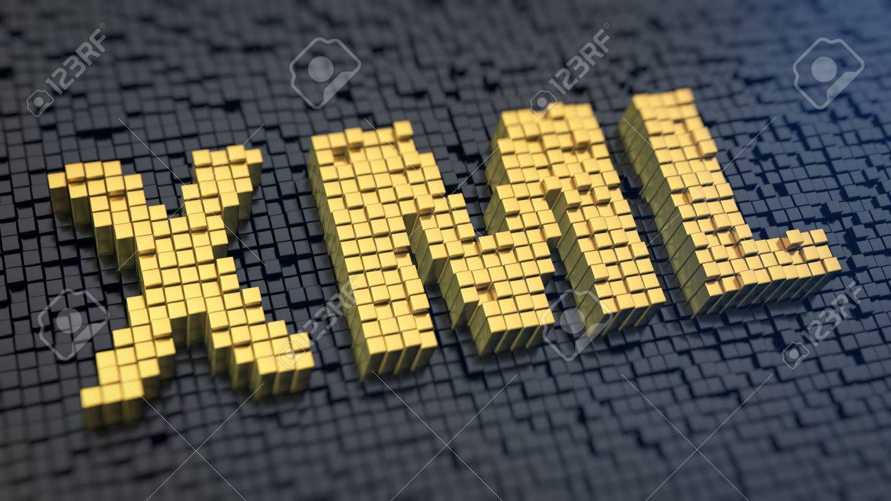 Background image xml - Acronym Xml Of The Yellow Square Pixels On A Black Matrix Background Database