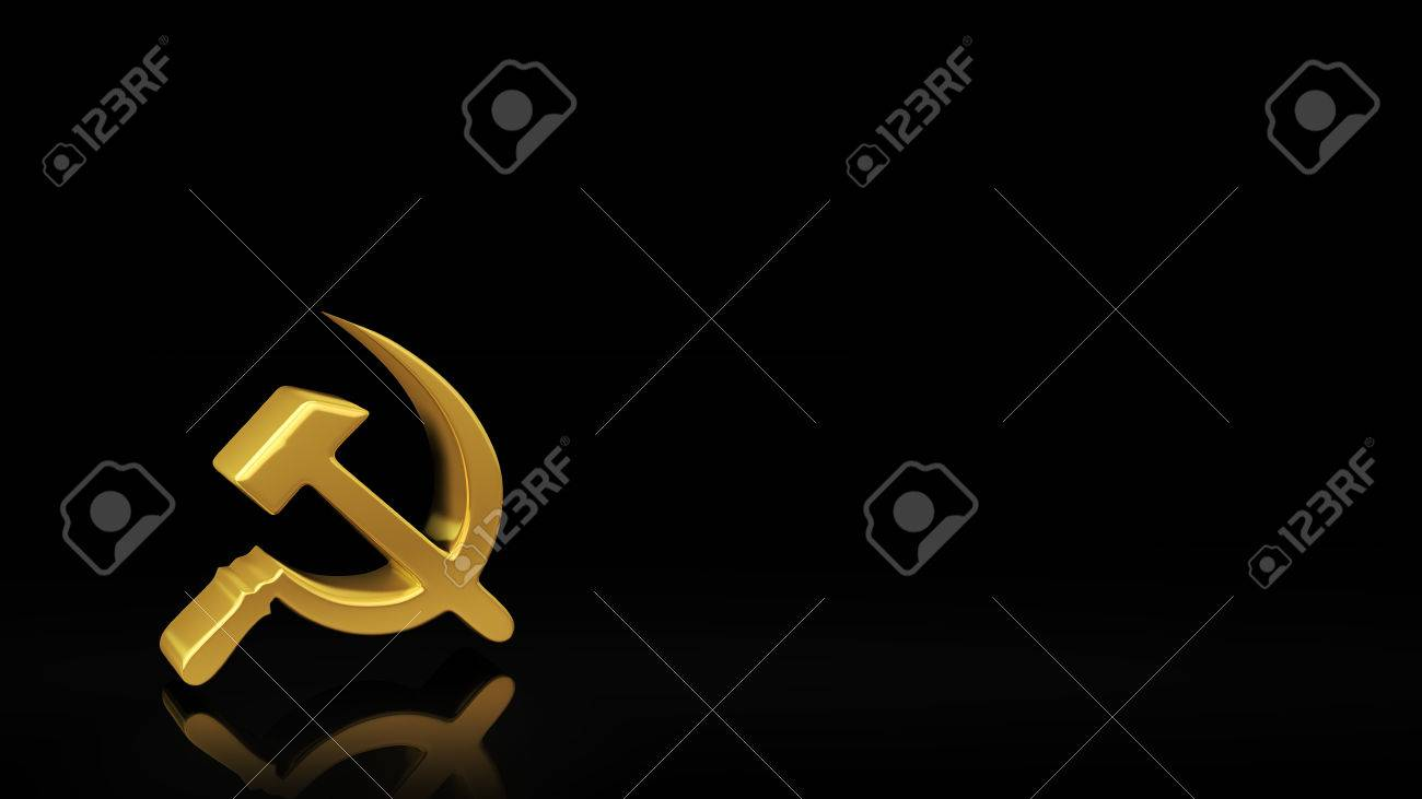 Gold sickle and hammer symbol on black background with reflection gold sickle and hammer symbol on black background with reflection and copyspace good for socialism buycottarizona Gallery