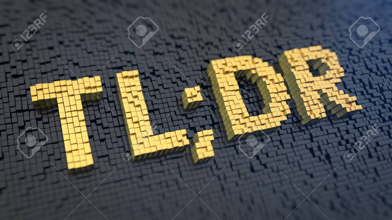 Too Long, Didn\u0027t Read. Word TLDR Of The Yellow Square Pixels.. Stock