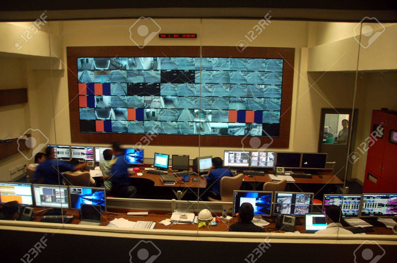 command centre for traffic control showing cctv monitors etc Stock Photo - 921754