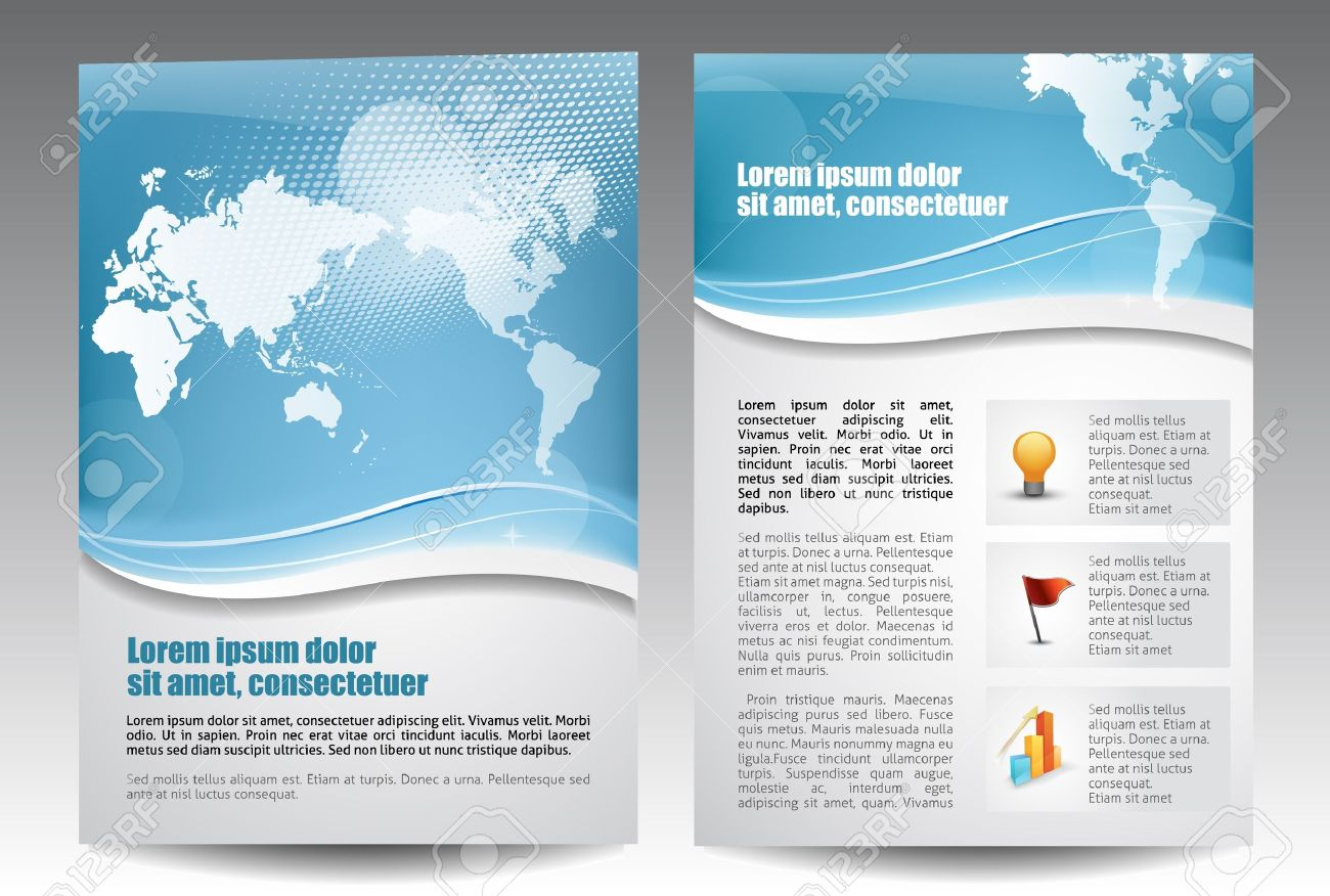 Blue Template For Advertising Brochure Royalty Free Cliparts ...