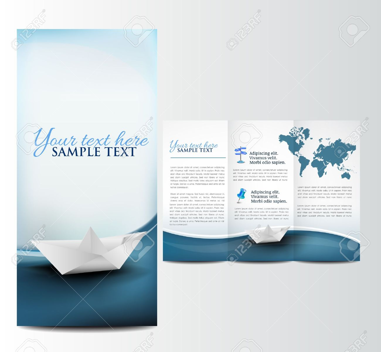 Brochure With Paper Boat Template Stock Vector