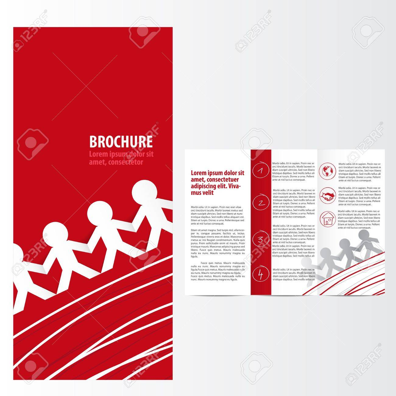Red brochure template Standard-Bild - 19017284